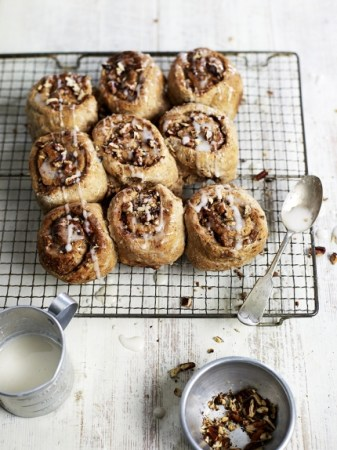 Show off your cooking skills with these vegan, wholeweat maple cinnamon buns! Photo Credit: Jamie Oliver