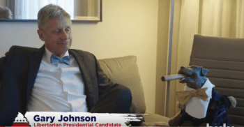 Libertarian presidential candidate Gary Johnson with Triumph the Insult Dog.