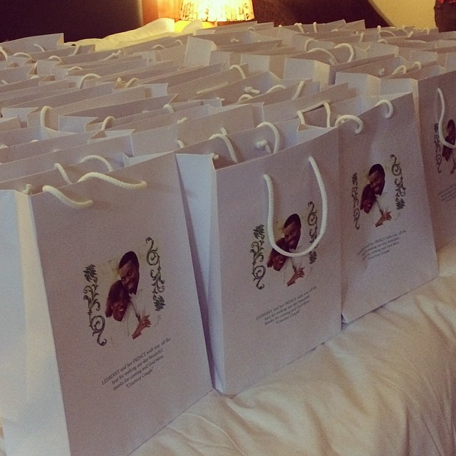 Customized gift bags for wedding guests