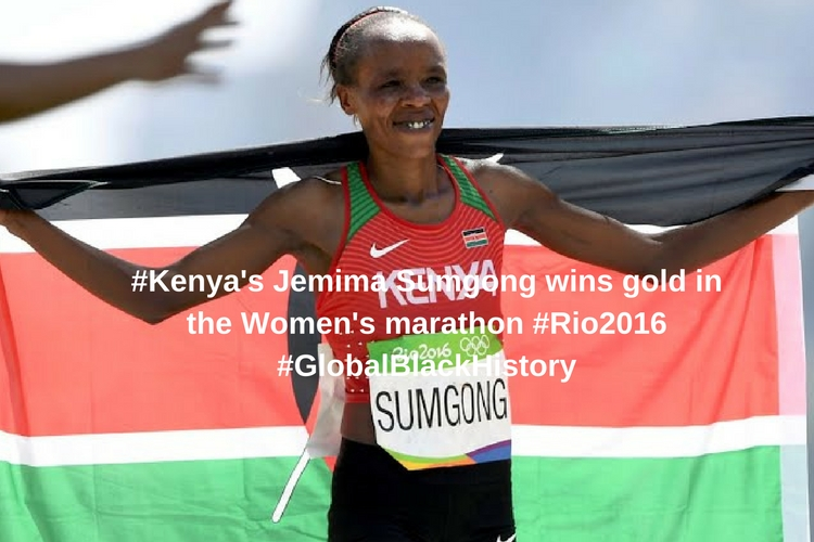 #_Kenya_'s Jemima Sumgong wins gold in the Women's marathon _#_Rio2016_#GlobalBlackHistory