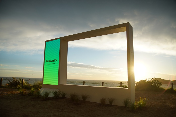 Kaspersky temporary billboard at Castlepoint Station on the Wairarapa coast of New Zealand- one of the first locations to see the new day and meet the future.