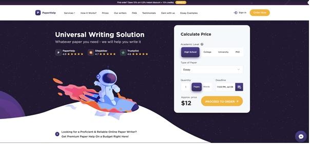 PaperHelp.com main page
