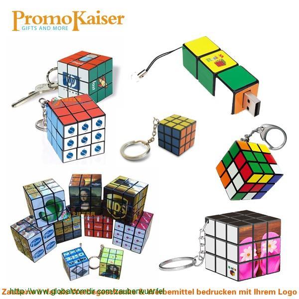Zauberwürfel Schlüsselanhänger mit Ihrem Logo oder Motiv bedruckt als Werbeartikel Werbemittel Werbegeschenk Give aways Streuartikel
