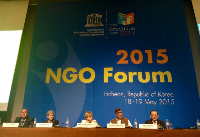 NGO world education forum 2015, irina bokova, lailash satyarthi