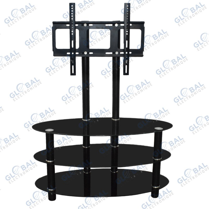 meuble tv ovale en verre a 3 etageres jusqu a 50 noir