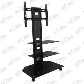 meuble tv a roulettes avec support mural a 3 etageres jusqu a 40 noir