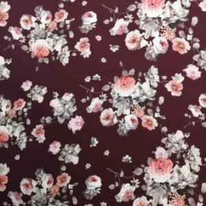 red or maroon floral super soft fabric