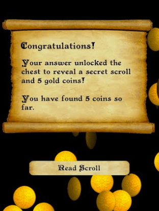 Yeah - we found the correct treasure. To learn more about the treasure, we could read more with the scroll of information.