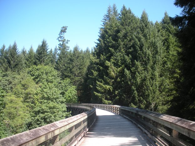 Walking along the Galloping Goose Trail to get to the park