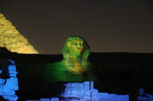 The Sphinx with a laser rendition of the mask.