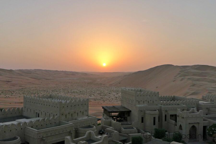 sunset over the liwa desert