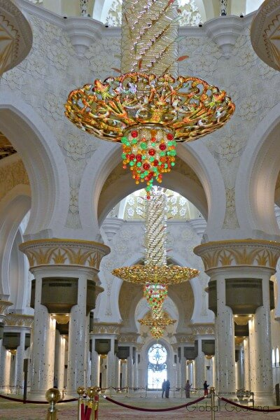 main prayer hall chandeliers grand mosque