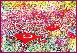 A.P . ASTRA Untitled Turkish FlagsMixed media - A.P . ASTRA (Turkish Flags)