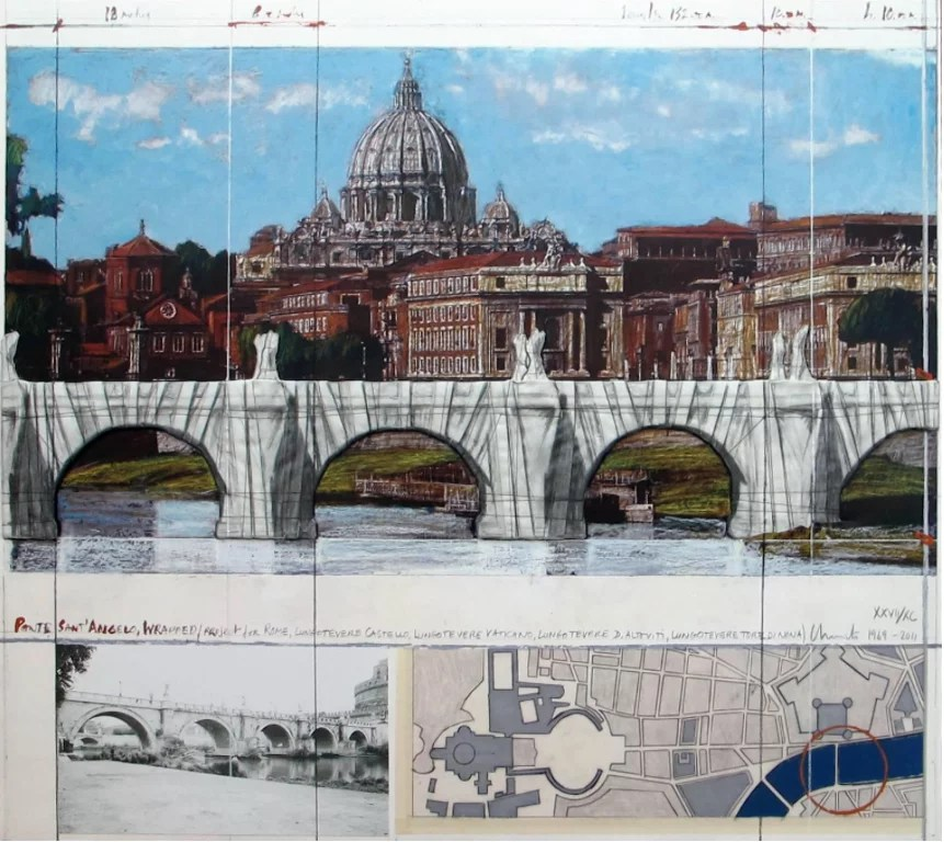 Christo Ponte Sant Angelo wrapped photography with collage - CHRISTO - ROME. Wrapped Ponte Sant' Angelo