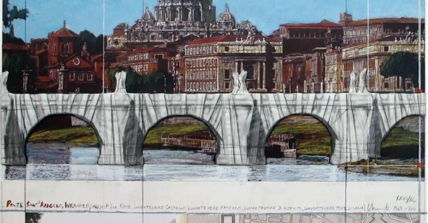 CHRISTO - Rome. Wrapped Ponte Sant' Angelo wrapped, photo-lithography with collage. Global Galleries