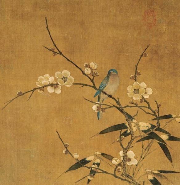 Unknown Blue Bird On A Plum Branch With Bamboo Art