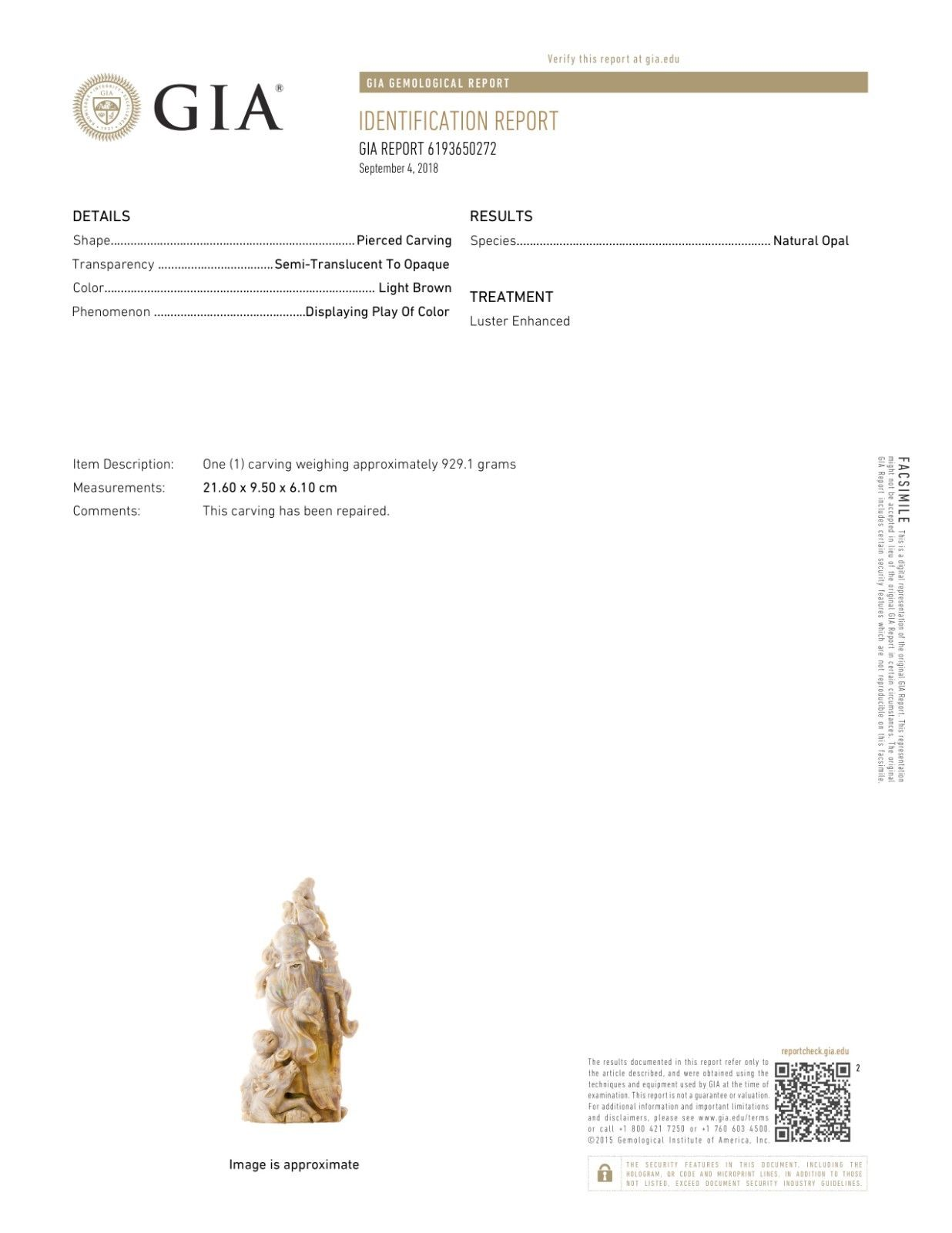 Gia Certified 4 600 Carat Museum Quality Precious Opal