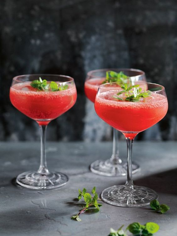 Watermelon Cooler Topped With Mint Leaves via Donna Hay