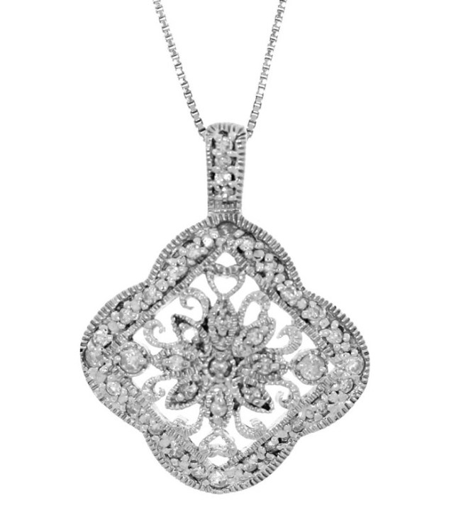Tulcy Genuine Natural 1_2 Cttw Diamond Filigree art Deco Pendant Necklace In Sterling Silver