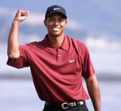 2000 U.S. Open – Woods finished at 12-under par to win by 15 strokes at Pebble Beach. It is the largest margin of victory in a major championship. (Photo: Mike Fiala, Getty Images)