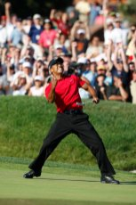 2008 U.S. Open – Woods shot 1-under par and beat Rocco Mediate in 19 extra holes at Torrey Pines. He did all this with a torn ACL and stress fractures in his right leg. (Photo: John Mummert, USGA)