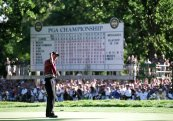 1999 PGA Championship – Woods, 23, shot 11-under par to win by one shot over 19-year-old Sergio García at Medinah Country Club. (Photo: Harry How, Allsport/Getty Images)
