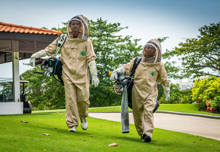Asian Tour players try on Beekeeping suits during launch of GAME ON at 2020 SMBC Singapore Open