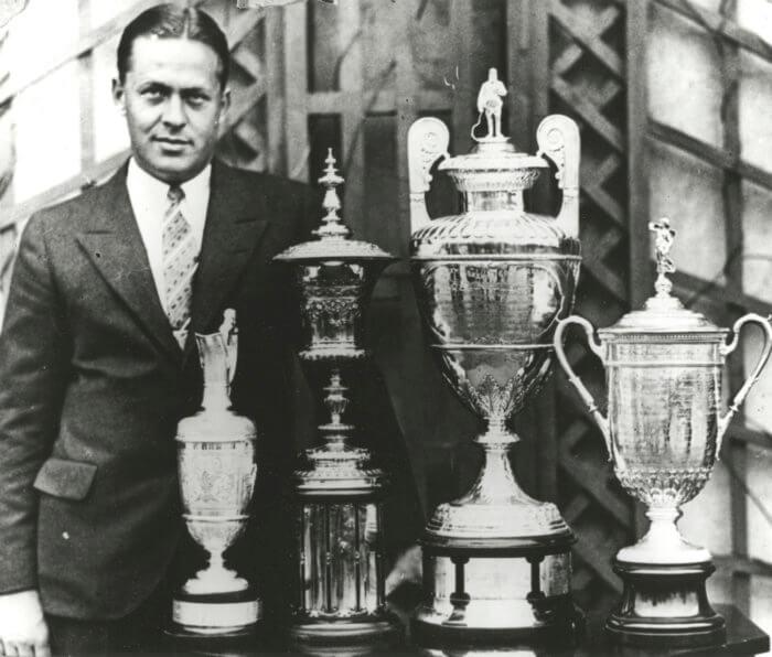 Bobby Jones with grand slam trophies