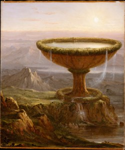 Thomas Cole - Der Pokal. A gigantic goblet filled with water in beautiful scenery