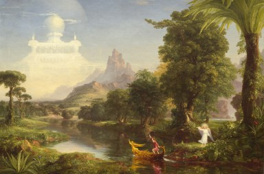 Thomas Cole - The Ages of Life - Youth. Oil painting. A man in a boat. An angel waves goodbye. A temple far in the background.