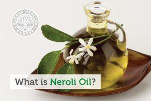 A bottle of neroli oil. Neroli oil is prized for its aroma and is one of the most commonly used essential oils.