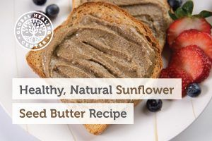 A toast with homemade sunflower seed butter.