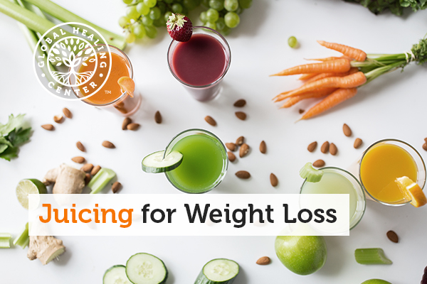 Five different juices for weight loss including green juice, strawberry juice, orange juice, and more.