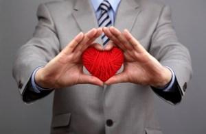 A man holding a heart.