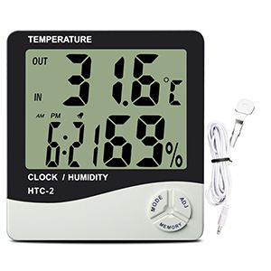 Digital series thermometer and hygrometer.