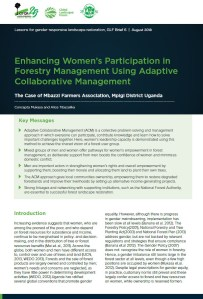 Enhancing Women's Participation in Forestry Management Using Adaptive Collaborative Management: The Case of Mbazzi Farmers Association, Mpigi District Uganda