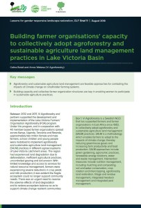 Building farmer organisations' capacity to collectively adopt agroforestry and sustainable agriculture land management practices in Lake Victoria Basin