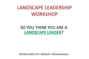 Landscape leadership workshop
