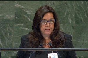 El Salvador environment minister Lina Pohl addresses United Nations on the Decade of Ecosystem Restoration