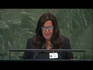 El Salvador's Lina Pohl speaks as U.N. adopts resolution the Decade on Ecosystem Restoration