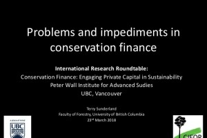 Problems and impediments in conservation finance