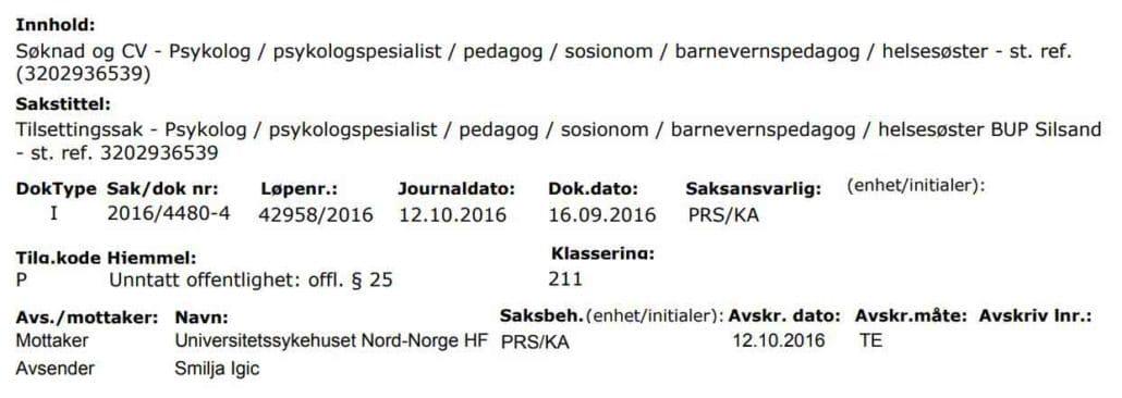 Spiskovi zaposlenih u Centrima za socijalni rad Ministarstva za rad, socijalnu i boračku zaštitu pronađeni i na spidkovima ozloglašenog Norveškog Barnevernet - na slici Smilja Igić psiholog Gradskog centra za socijalni rad Beograd - Zvezdara