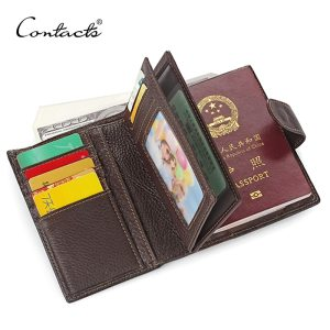 CONTACT'S Real Genuine Leather Men Passport Holder Wallets