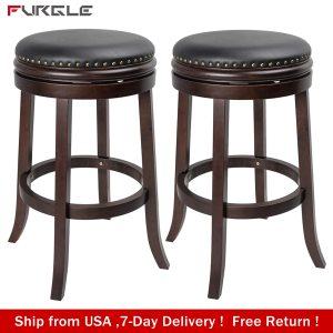 Set of 2 Rubber Wooden Dining Chairs 360°