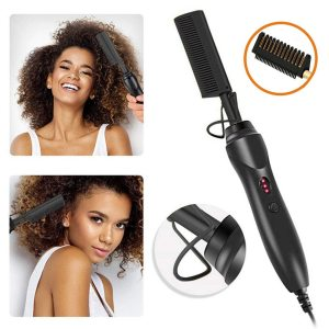 2 in 1 Heating Comb Black Hair Straightener Multifunctional Electric Flat Irons Straightening Brush Hot Comb Wet and Dry Hair
