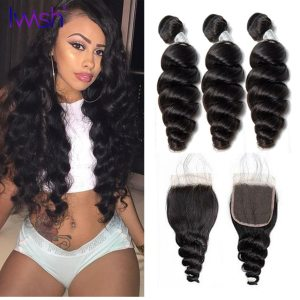 30 Inch Loose Wave Human Hair Bundles With Closure Bundles With 4x4 Closure With 3 4 Bundles Brazilian Weave Extensions Remy Wig