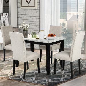 5-Piece Dining Set Table Faux Marble with 4 Thicken Cushion Dining Chairs Home Furniture, White/Beige