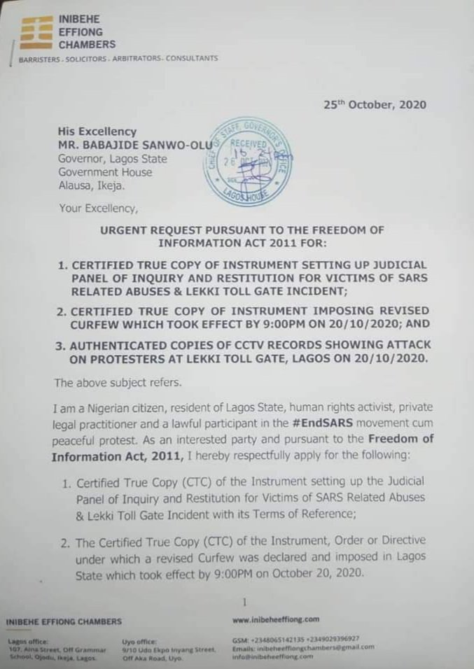 A legal practitioner, Inibehe Effiong Requests For The Release Of CCTV Footage Of Lekki Shooting