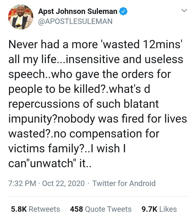 Apostle Johnson Suleman attacks Buhari-Your speech was useless and insensitive