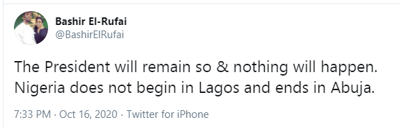 Bashir El-Rufai The Son of Governor Nasir El- Rufai Says Nigeria Does Not Begin In Lagos And Ends In Abuja-The President Will Remain And Nothing Will Happen